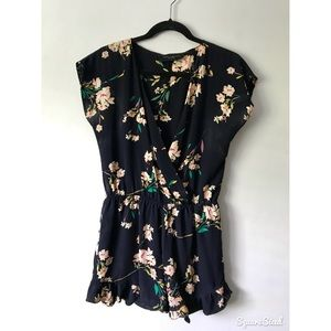 Navy, floral print romper with ruffles